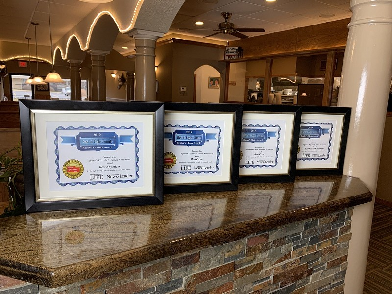 Awards won at Alfano's. Best Italian food and Pizza in Rochelle.